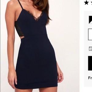 Navy cocktail dress with lace trim